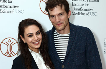 Rare exit: Mila Kunis and Ashton Kutcher at the opening of the Medical Institute in Los Angeles