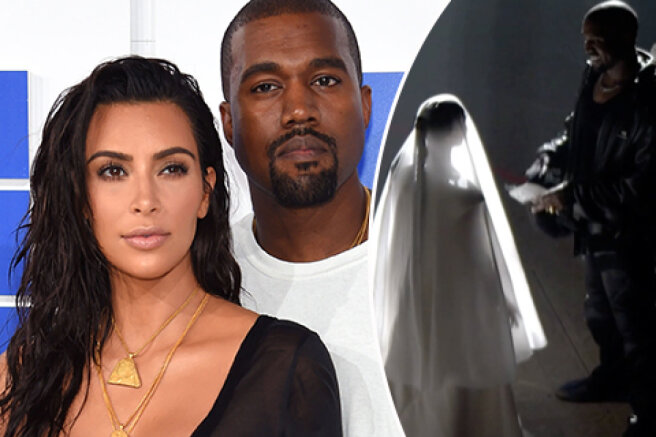 Kim Kardashian in a wedding dress supported Kanye West at his concert in Chicago