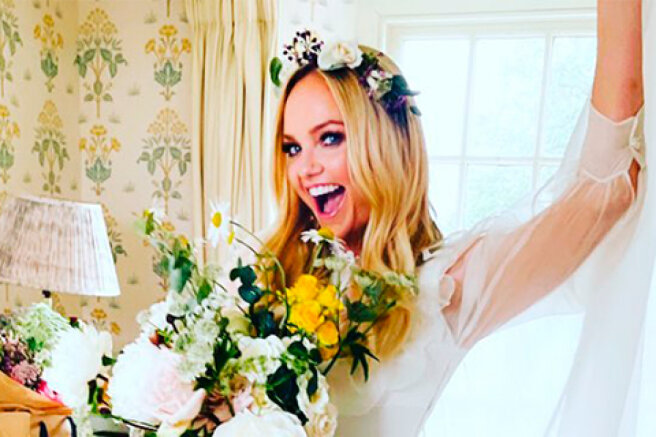 Still over the moon: Emma Bunton shared a new photo from the wedding