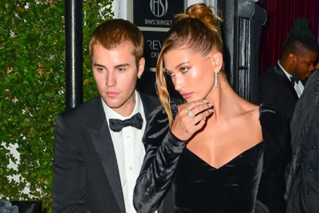 Mr. and Mrs.: Justin and Hailey Bieber in elegant evening looks at a party in West Hollywood