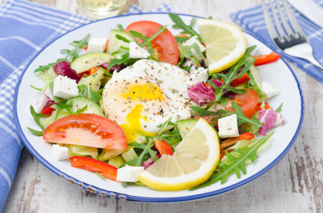 Salads with poached eggs