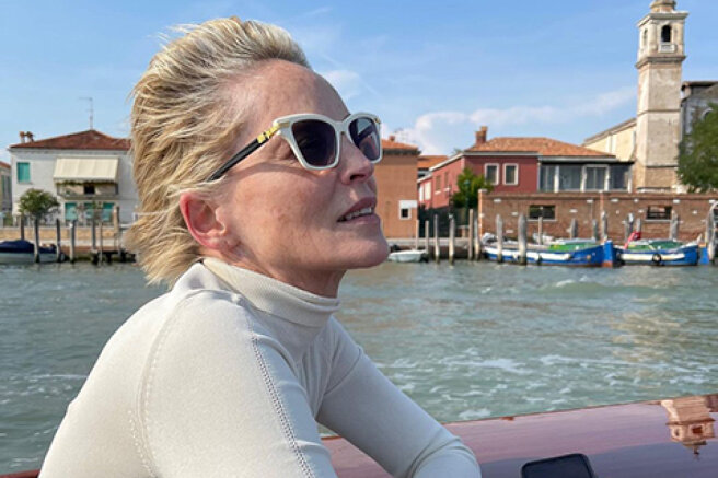 Sharon Stone travels to Venice