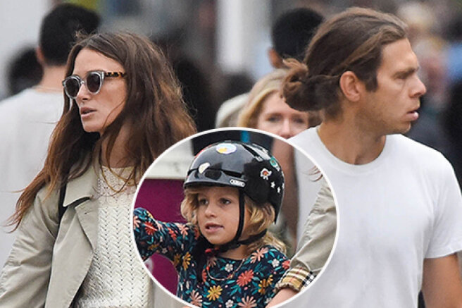A rare family outing: Keira Knightley with her husband and children on a walk in London