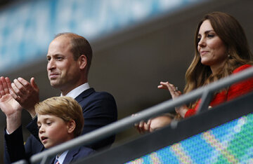 Kate Middleton and Prince William with Prince George supported the England national team at the European Football Championship match