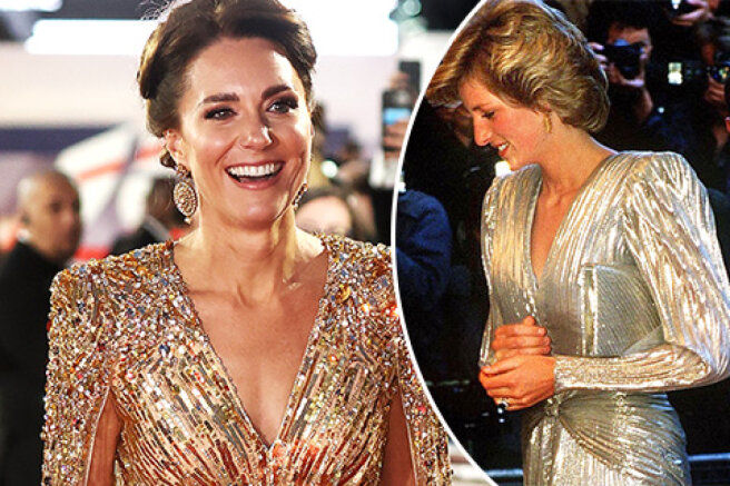 The network compares the images of Kate Middleton and Princess Diana at the premieres of James Bond films