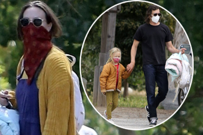 Rare shot: Adam Brody and Leighton Mister with their daughter on a walk in Los Angeles