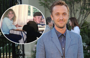 """Tom Felton shared an archive photo with his """"Harry Potter"""" co-stars Emma Watson and Alfred Enock"""