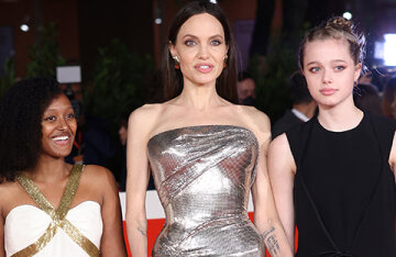 """Angelina Jolie with her daughters, Kit Harington and others at the premiere of the film """"Eternal"""" in Rome"""