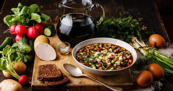 Two unusual recipes for okroshka: on kefir and on kvass with herring