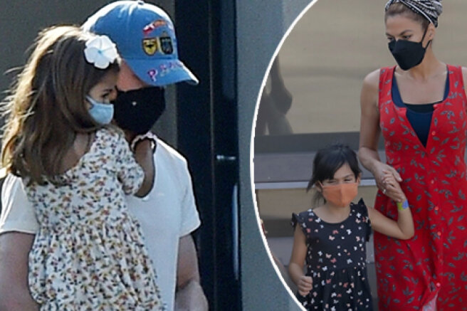 Eva Mendes and Ryan Gosling with their daughters in Los Angeles: new photos