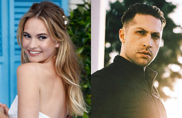 Lily James provoked rumors of an engagement with rock musician Michael Shumen