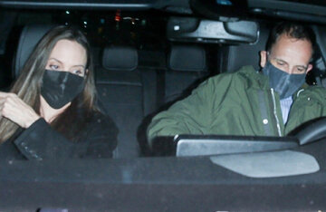 Together again: Angelina Jolie was photographed with ex-husband Johnny Lee Miller in Los Angeles
