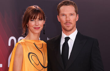 """A rare exit: Benedict Cumberbatch and his wife Sophie Hunter attended the premiere of the film """"The Power of the Dog"""" in London"""