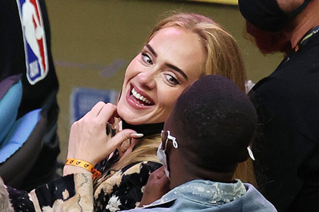 Rare exit: Adele attended the NBA semifinal match